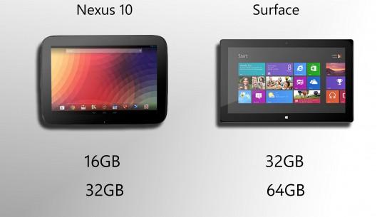 surface vs nexus-10