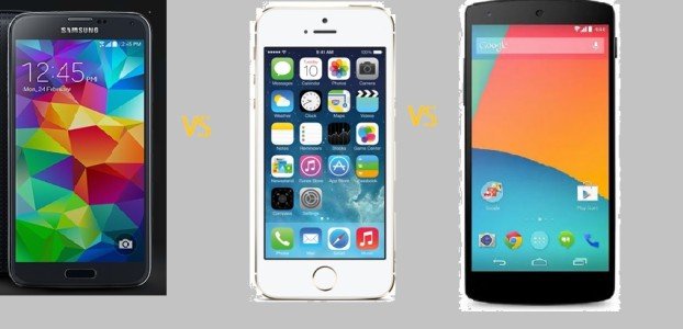 samsung galaxy s5 vs iphone5s vs Nexus 5