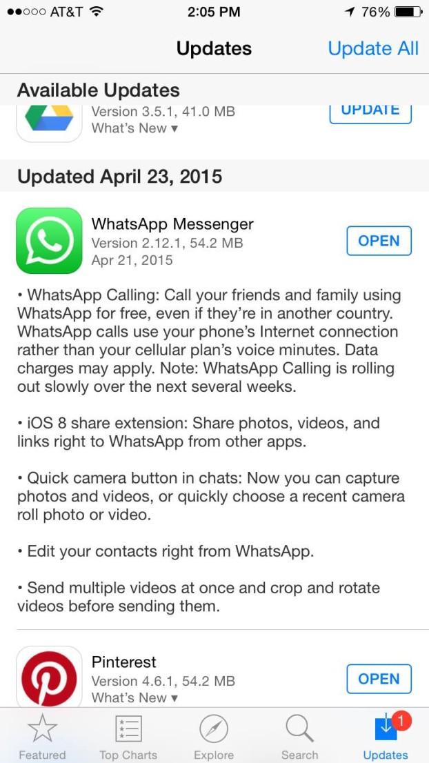 Whatsapp Voice Call iPhone