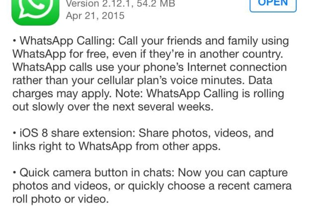 Whatsapp Voice Call iPhone